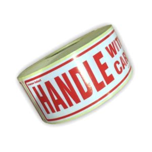 Roll of 500 Handle With Care Labels Stickers for Parcels -0