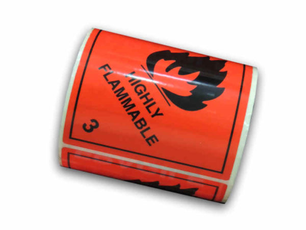 Roll of 250 Highly Flammable Labels Stickers-0